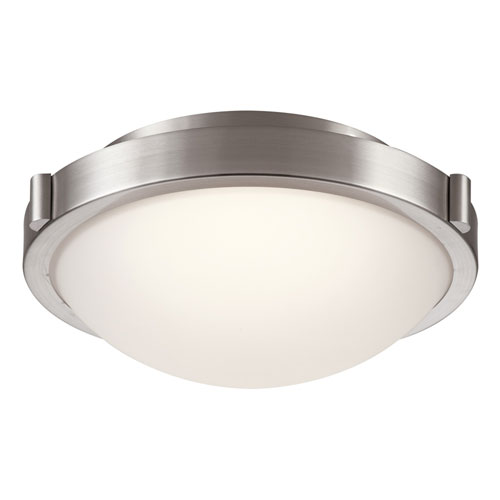 PLC Lighting Corso Satin Nickel LED Flush Mount with Frost Glass