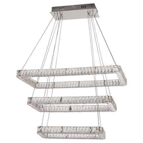 Equis Polished Chrome 32-Inch LED Pendant with Diamond Cut Crystal