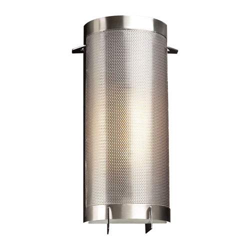 PLC Lighting Girasole One-Light Satin Nickel Sconce with Acid Frost Glass- Halogen