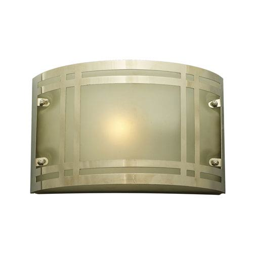 PLC Lighting Oslo One-Light Polished Chrome Outdoor Wall Light with Frost Glass