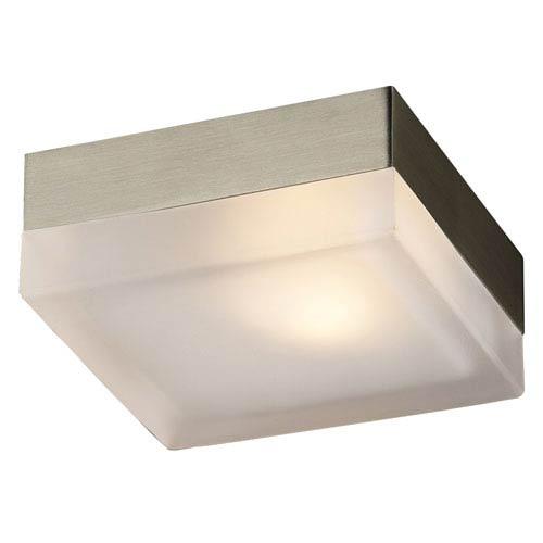 PLC Lighting Praha One-Light Satin Nickel Wall with Frost Glass -Halogen