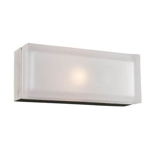 PLC Lighting Praha One-Light Satin Nickel Sconce with Frost Glass