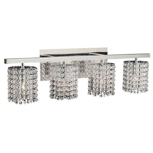 PLC Lighting Rigga Four-Light Polished Chrome Vanity Light with Asfour Handcut Crystal Glass