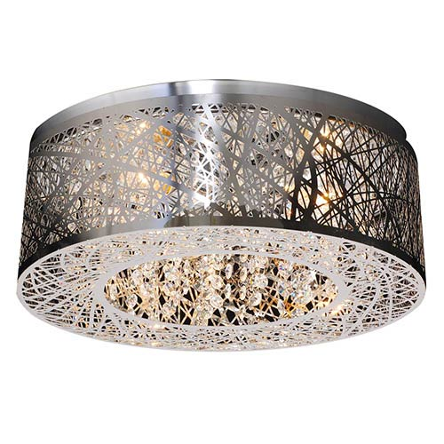 PLC Lighting Nest Polished Chrome Three-Light Flush Mount