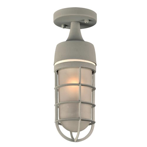Cage Silver 5-Inch One-Light Outdoor Semi-Flush Mount