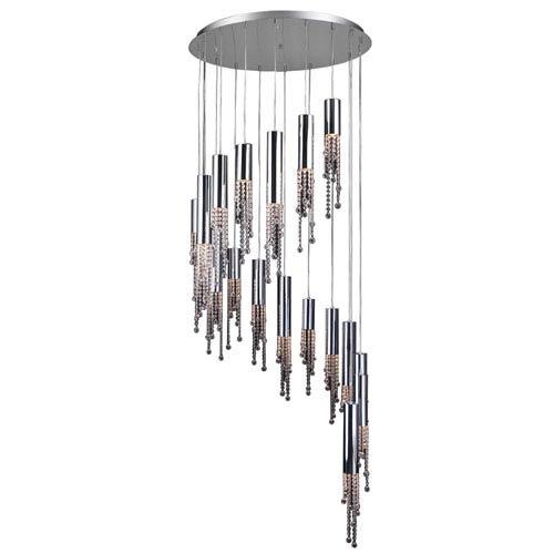 Trento 18-Light Polished Chrome Pendant with Handcut Crystal Glass -Halogen