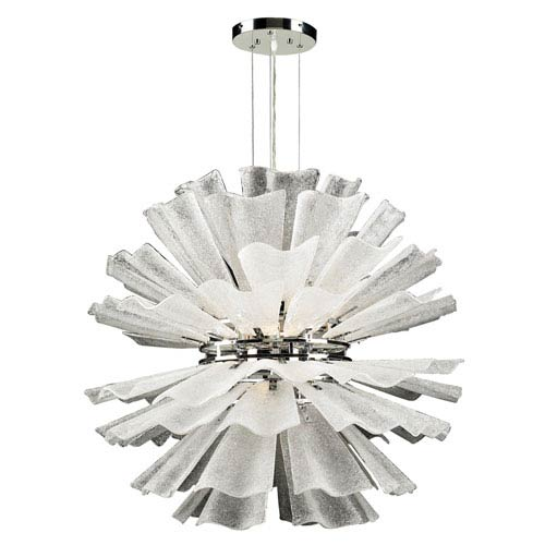 Enigma Eight-Light Polished Chrome Pendant with Textured Frost Glass -Halogen