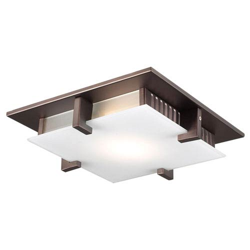 PLC Lighting Polipo One-Light Oil Rubbed Bronze Close to Ceiling Light Fixture with Acid Frost Glass- Halogen