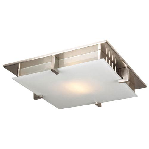 Polipo One-Light Satin Nickel Close to Ceiling Light Fixture with Acid Frost Glass- Halogen