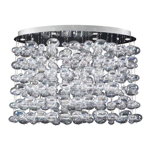 PLC Lighting Bubbles 12-Light Polished Chrome Pendant with Iridescent Glass -Halogen
