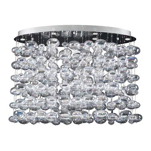 PLC Lighting Bubbles Six-Light Polished Chrome Close to Ceiling Light with Iridescent Glass -Halogen