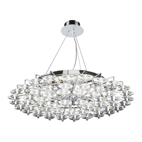 PLC Lighting Diamente 18-Light Polished Chrome Pendant with Asfour Handcut Crystal Glass -Halogen