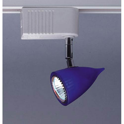 Vetro One-Light Black Track Fixture with Cobalt Blue Glass