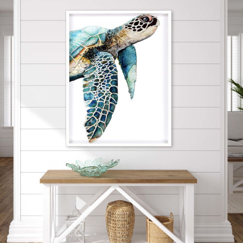 Turquoise 50 H x 38 W-Inch Great Sea Turtle Wall Art