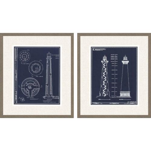 Libby Langdon Lighthouse I Blue Framed Wall Art, Set of 2