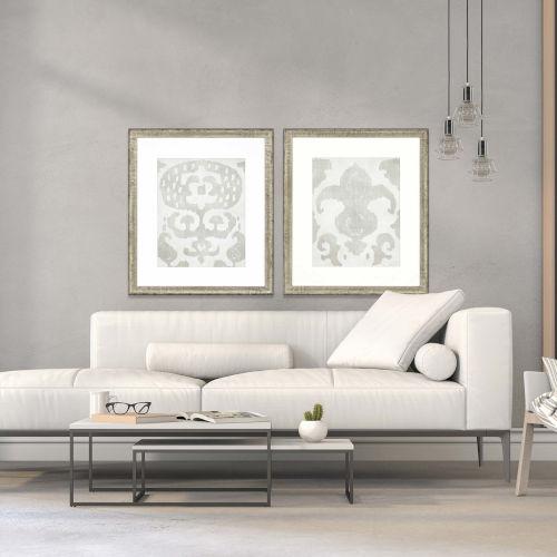 Shadow Ikat I White Framed Wall Art, Set of 2