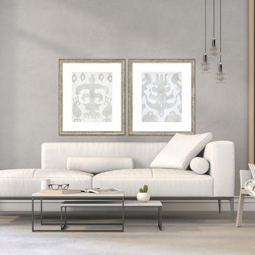 Shadow Ikat II White Framed Wall Art, Set of 2
