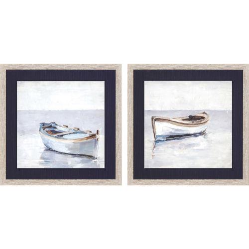 Reflected Horizon Blue Framed Wall Art, Set of 2