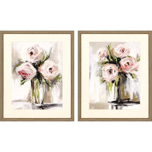 Spring Bouquet Pink Framed Wall Art, Set of 2