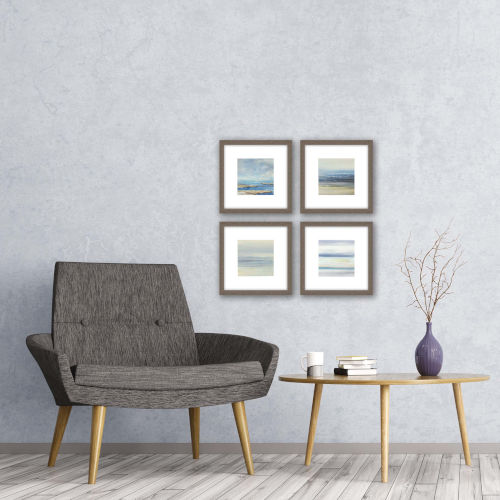 Serene I Blue Framed Wall Art, Set of 4