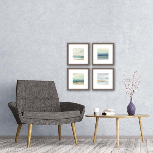 Serene II Blue Framed Wall Art, Set of 4
