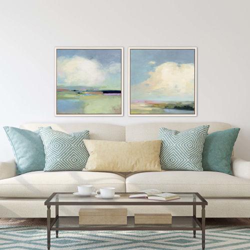 Blue Colorful Horizon Framed Art, Set of 2