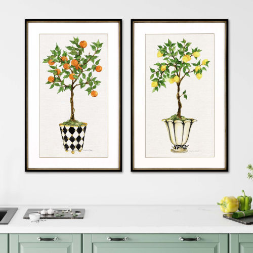Multicolor 40 H x 26 W-Inch Fruit Topiary Wall Art, Set of 2