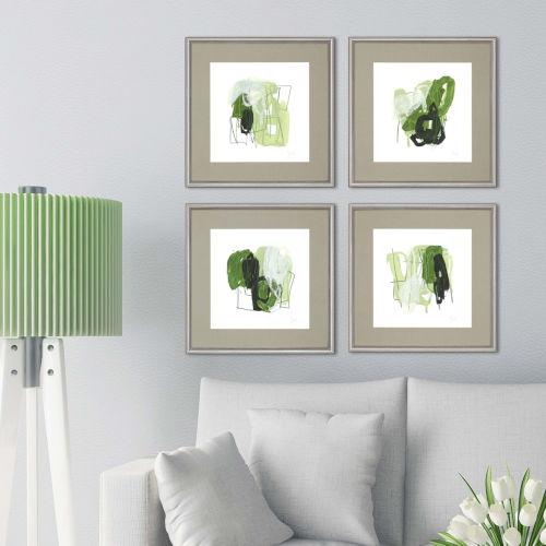 Green 24 H x 24 W-Inch Jade Schematic Wall Art, Set of 4