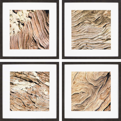 Woodgrain Brown Framed Art, Set of Four