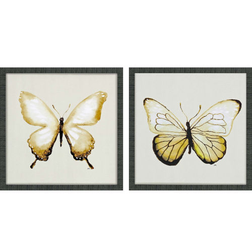 Butterfly of Gold II Yellow Framed Art, Set of Two