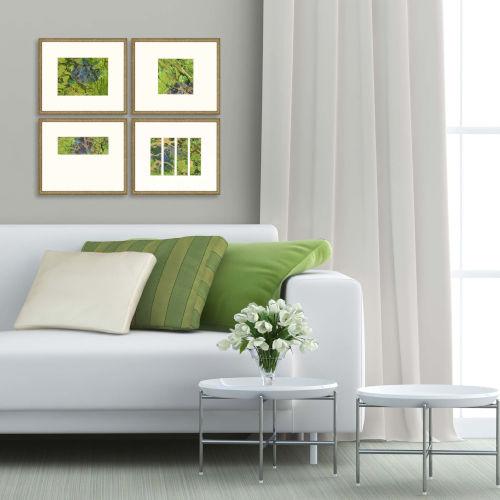 Green Wave Green Framed Art, Set of Four