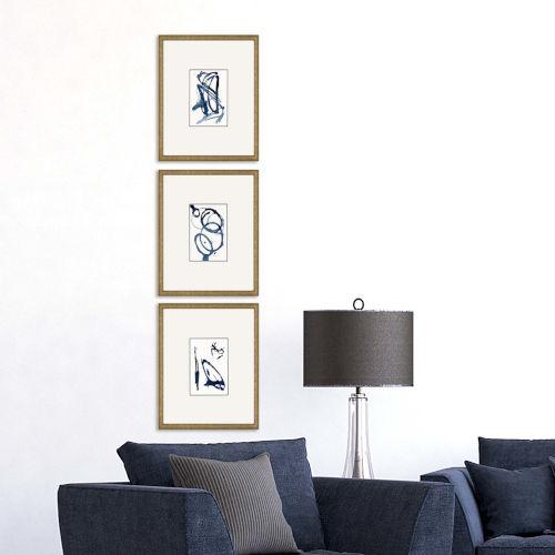 Mayhem II Blue Framed Art, Set of Three