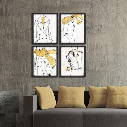 Fashion Strokes Yellow Framed Art, Set of Four