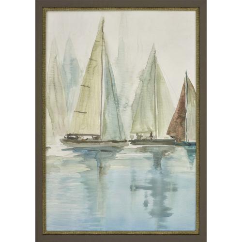 Blue Sailboats II Blue Framed Art