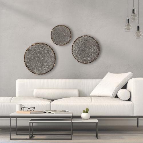 Disc Neutral Wall Sculpture, Set of 3
