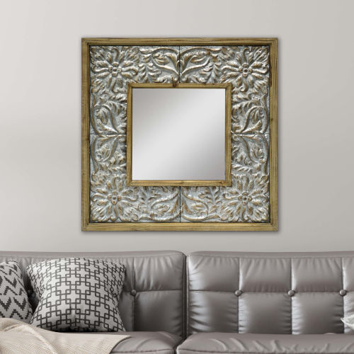 Neutral Square Wall Mirror with Floral Tile