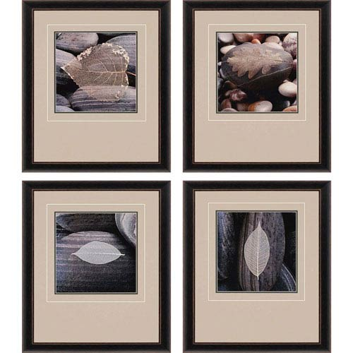 Paragon Feuilles et Galets by Pinsard: 26 x 22-Inch Framed Wall Art, Set of Four