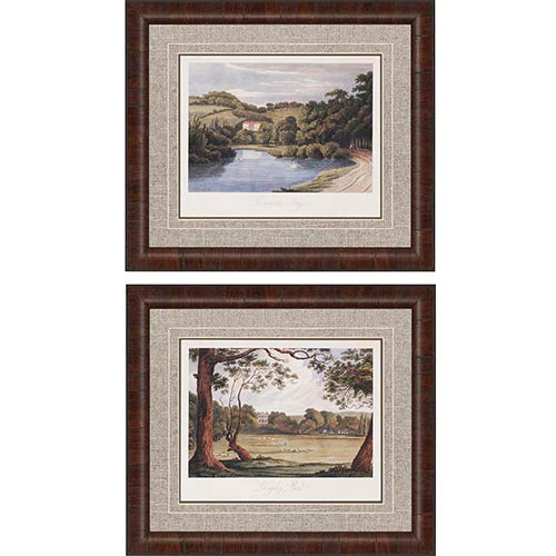 Paragon Countryside II by Hakewill: 26 x 30 Framed Giclee Printed, Set of 2