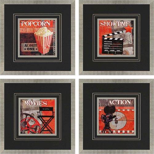 Paragon Show Time by Smith: 26 x 26-Inch Framed Wall Art, Set of Four