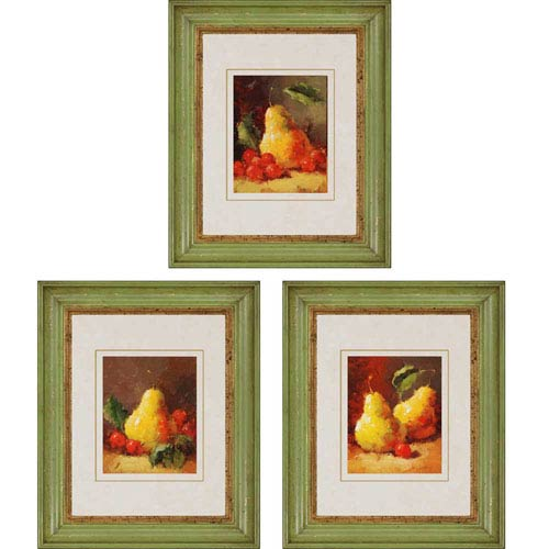 Paragon Pears by Oxley: 21 x 17-Inch Framed Wall Art, Set of Three