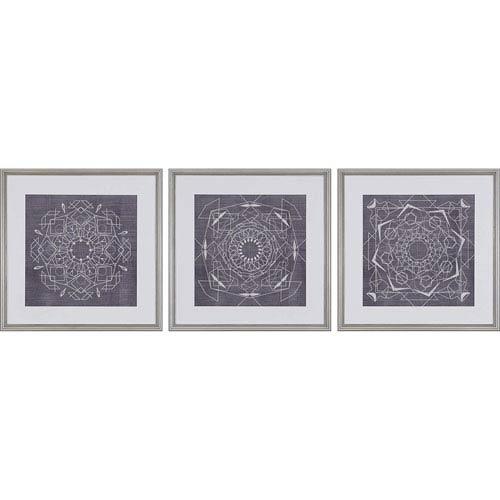 Paragon Geometric Tile II by Zarris: 22 H x 22 W-Inch Framed Art , Set of Three