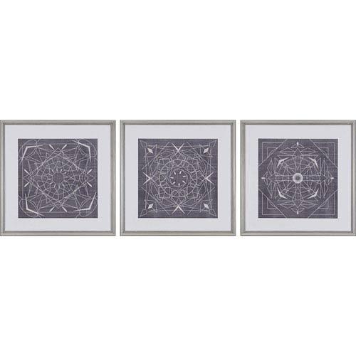 Paragon Geometric Tile III by Zarris: 22 H x 22 W-Inch Framed Art , Set of Three