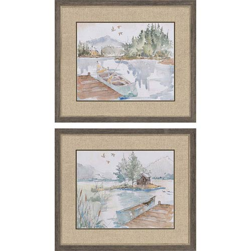 Paragon Lake House by Tavoletti: 25 H x 29 W-Inch Framed Art , Set of Two