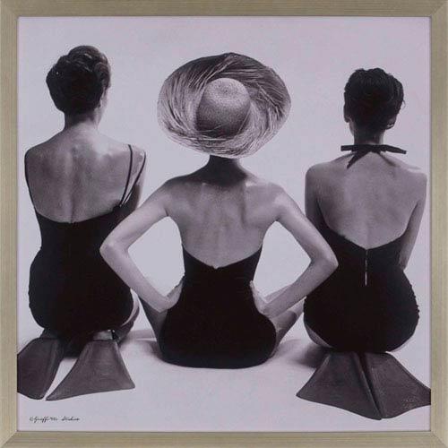 1950s Swim Suit Models by Graffi Tee: 39 H x 39 W-Inch Framed Art