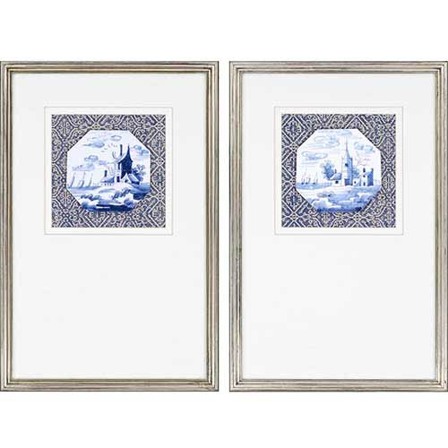 Paragon Delft by Ridgefield: 24 x 16 Framed Acrylic Paint, Set of 2