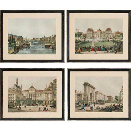 Europe View: 18 x 22 Framed Giclee Printed, Set of 4
