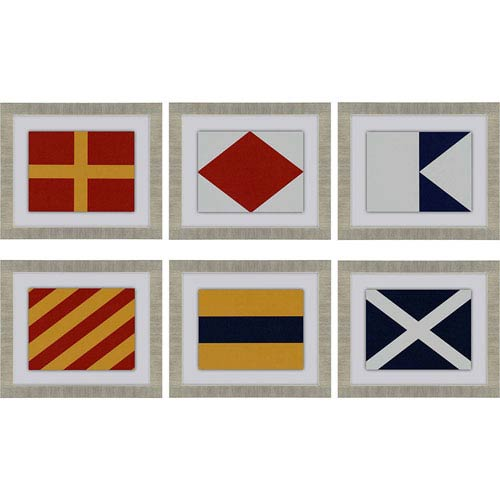 Nautical Signals: 16 x 19-Inch Framed Wall Art, Set of Six