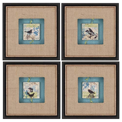 Paragon Black Bird Tiles, Set Of 4 by Scaletta: 29 X 38 Deluxe Framed Print Reproduction