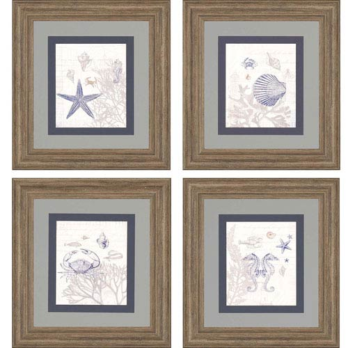 Ebb and Flow by Hurd: 24 x 22-Inch Framed Wall Art, Set of Four