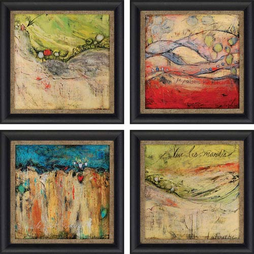 Passing by Latouche: 16 x 16-Inch Framed Wall Art, Set of Four